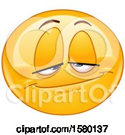 Clipart Of A Yellow Emoji Smiley Face With A Stoned Expression Royalty Free Vector Illustration