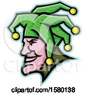 Clipart Of A Profiled Harlequin Jester Mascot Face Royalty Free Vector Illustration