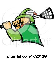 Tough Robin Hood Sports Mascot Holding A Lacrosse Stick