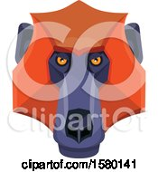 Clipart Of A Baboon Monkey Face Mascot Royalty Free Vector Illustration by patrimonio