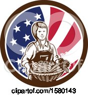 Retro Woodcut Female Farmer Holding A Basket Of Produce In An American Flag Circle