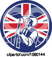 Clipart Of A Retro Woodcut Cowboy Farmer Holding A Hoe In A Union Jack Flag Circle Royalty Free Vector Illustration