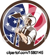 Clipart Of A Retro Woodcut Cowboy Farmer Holding A Hoe In An American Flag Circle Royalty Free Vector Illustration
