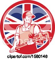 Clipart Of A Retro Male Plumber Holding A Large Monkey Wrench In A Union Jack Flag Circle Royalty Free Vector Illustration