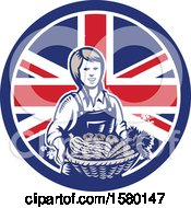 Retro Woodcut Female Farmer Holding A Basket Of Produce In A Union Jack Flag Circle