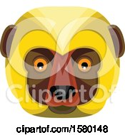 Clipart Of A Diademed Sifaka Lemur Monkey Face Mascot Royalty Free Vector Illustration