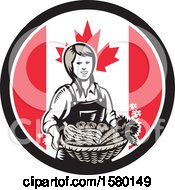 Retro Woodcut Female Farmer Holding A Basket Of Produce In A Canadian Flag Circle