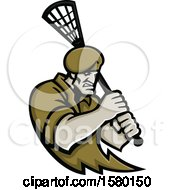 Tough Special Forces Soldier Sports Mascot Holding A Lacrosse Stick