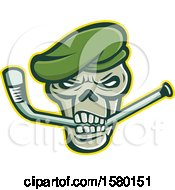 Clipart Of A Green Beret Skull Sports Mascot Biting An Ice Hockey Stick Royalty Free Vector Illustration