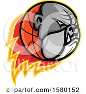 Clipart Of A Bulldog Head On A Flaming Basketball Sports Mascot Royalty Free Vector Illustration