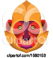 Clipart Of A Cat Ba Langur Monkey Face Mascot Royalty Free Vector Illustration by patrimonio