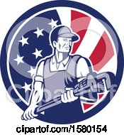 Retro Male Plumber Holding A Large Monkey Wrench In An American Flag Circle