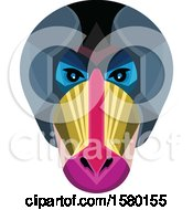 Clipart Of A Mandrill Monkey Face Mascot Royalty Free Vector Illustration
