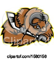 Clipart Of A Tough Musk Ox Sports Mascot With An Ice Hockey Stick Royalty Free Vector Illustration