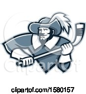 Clipart Of A Tough Musketeer Sports Mascot Holding An Ice Hockey Stick Royalty Free Vector Illustration