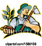 Clipart Of A Male Farmer Holding A Hoe And Seedling Plant Royalty Free Vector Illustration by patrimonio