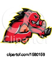 Clipart Of A Tough Red Wild Boar Pig Sports Mascot Running With An American Football Royalty Free Vector Illustration
