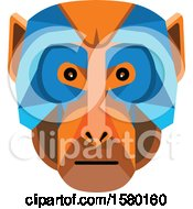 Clipart Of A Rhesus Macaque Monkey Face Mascot Royalty Free Vector Illustration