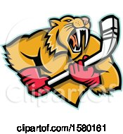 Clipart Of A Tough Saber Toothed Cat Sports Mascot With An Ice Hockey Stick Royalty Free Vector Illustration
