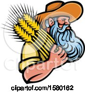 Clipart Of A Bearded Senior Male Farmer Holding Wheat Royalty Free Vector Illustration