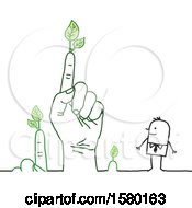 Poster, Art Print Of Happy Stick Man With A Giant Hand And Fingers With Leaves