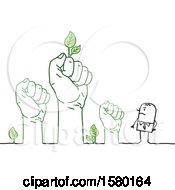 Poster, Art Print Of Mad Stick Man With Fisted Hands With Leaves