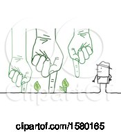 Poster, Art Print Of Stick Man Farmer With Giant Hands With Leaves