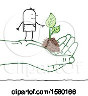 Stick Man Farmer On A Giant Hand With Soil And A Plant