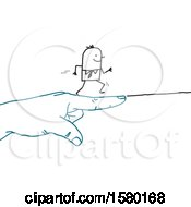 Clipart Of A Stick Man Running Forward On A Giant Pointing Hand Royalty Free Vector Illustration