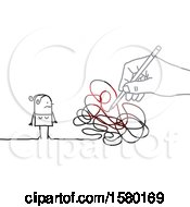 Poster, Art Print Of Stick Woman With A Giant Hand And Scribbles