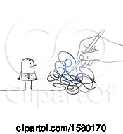 Poster, Art Print Of Stick Man With A Giant Hand And Scribbles