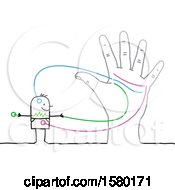 Clipart Of A Stick Man Connected To A Hand Royalty Free Vector Illustration