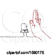 Clipart Of A Stick Man Blocked By A Giant Hand Royalty Free Vector Illustration