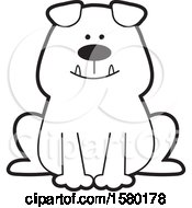 Clipart Of A Cartoon Happy Black And White Bulldog Sitting Royalty Free Vector Illustration