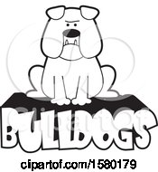 Clipart Of A Cartoon Black And White Bulldog With Jowls Sitting On Text Royalty Free Vector Illustration