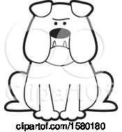 Clipart Of A Cartoon Black And White Bulldog With Jowls Royalty Free Vector Illustration