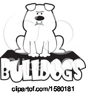 Clipart Of A Cartoon Black And White Bulldog Sitting On Text Royalty Free Vector Illustration