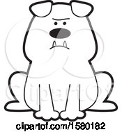 Clipart Of A Cartoon Black And White Bulldog Sitting Royalty Free Vector Illustration