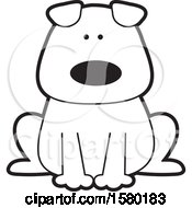 Clipart Of A Cartoon Black And White Sitting Dog Royalty Free Vector Illustration