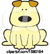 Clipart Of A Cartoon Sitting Dog Royalty Free Vector Illustration