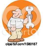 Cartoon Man Holding A Giant Spanner Wrench Over A Circle