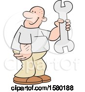 Cartoon Happy Man Holding A Giant Spanner Wrench