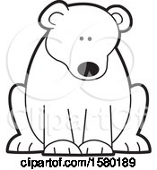 Clipart Of A Black And White Sitting Bear Royalty Free Vector Illustration by Johnny Sajem
