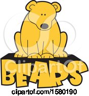 Clipart Of A Cute Sitting Bear On Text Royalty Free Vector Illustration by Johnny Sajem