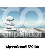Clipart Of A 3d Wood Surface With Stacked Stones Over The Ocean Royalty Free Illustration