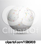 Clipart Of A 3d Globe With Colorful Connections On A Gray Background Royalty Free Vector Illustration