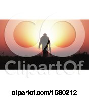 3d Silhouetted Soldier Against A Sunset