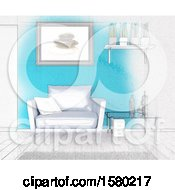 Clipart Of A 3d And Sketch Room Interior Royalty Free Illustration