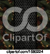 Clipart Of A 3d Perforated Metal And Camouflage Background Royalty Free Illustration