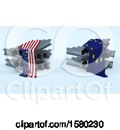 Clipart Of 3D Steel Beams With American And Eu Flags Import Tarrifs Royalty Free Illustration